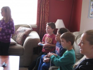 The kids are engrossed in the game