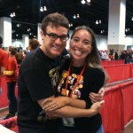 Hugging Eddie McClintock at Denver Comic Con