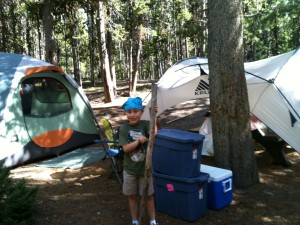 Miles shows off our campsite.