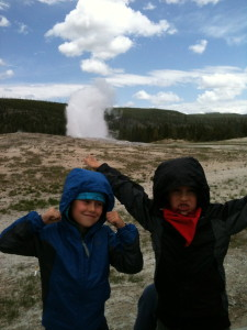 The boys cheer for Old Faithful